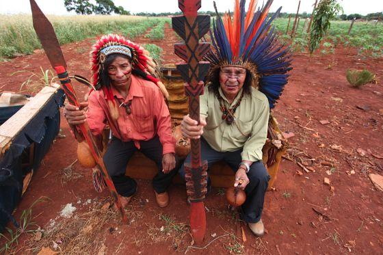 Índios da comunidade aldeia Tekoha Nhu Verá, ocupada há dois anos.