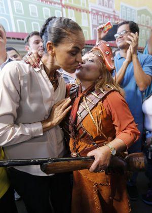 Marina durante ato de campanha em São Paulo.