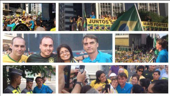 Fotomontagem publicada por Bolsonaro em sua página do Facebook após o ato de domingo.