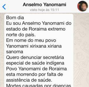 WhatsApp com pedido de socorro enviado por Anselmo.