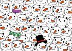 Você consegue ver um panda perdido entre estes bonecos de neve?