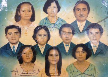 As memórias da família brasileira numa fotopintura na parede