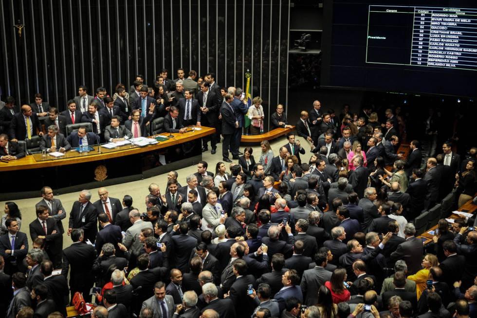 Câmara dos Deputados, nesta quarta-feira durante a votação do novo presidente da Casa.