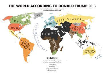 Mapa do mundo segundo a visão de Donald Trump