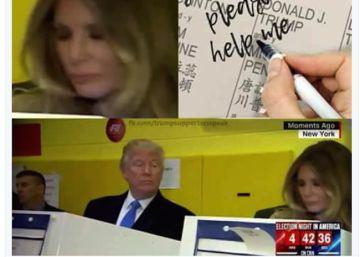 Trump dá espiadela em voto da mulher e Twitter ri: não confia nem nela