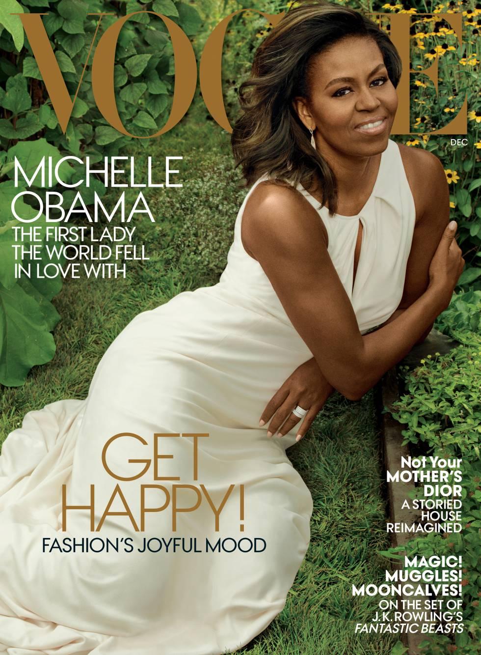 Michelle Obama, vestindo Carolina Herrera em sua última capa como primeira-dama.