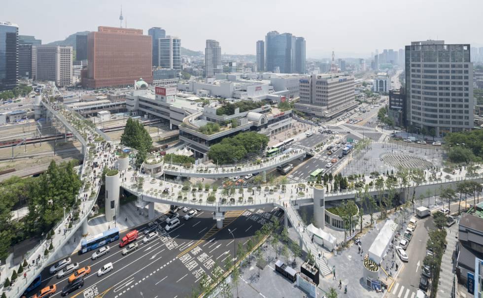 Skygarden reúne 228 espécies de árvores e plantas locais no centro de Seul.