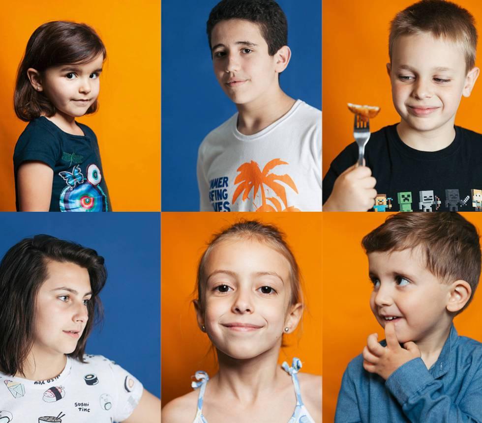 Da esquerda para a direita, e de cima para baixo: Daniela Miranda Galán, 5 anos e alérgica à proteína do leite de vaca; Carlos Matías, de 14 anos, alérgico a ovos, frutas secas, amendoim e peixe; Rodrigo Capapé, de 8 anos, alérgico a ovos e frutas secas; Nerea Ortiz, de 14 anos, não pode comer ovos, frutas secas, leguminosas, frutas (menos maçã, pera e laranja), casca de frutas, frango mal cozido e amendoim; Silvia García, 7 anos, é alérgica a leite, e Adrián, de 2 anos, a leite e ovos.