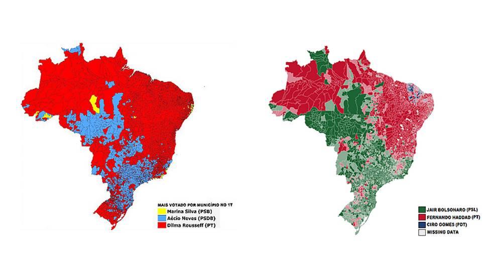 Mapa das eleições por município em 2014 (à esq.) e em 2018 (à dir.)