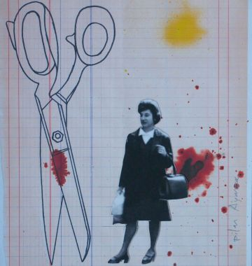 Fotografia de la modista Pilar Ayarza en un collage de Rosa Solano.