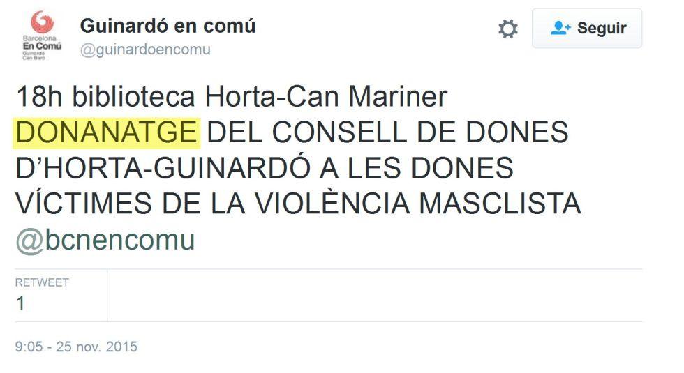 Piulada anunciant un 'donanatge' a Barcelona.