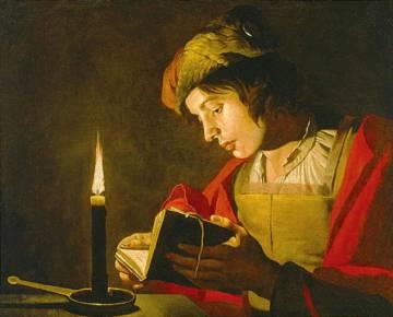 Jove llegint a la llum d'una espelma, de Matthias Stom (1600-1650).rn