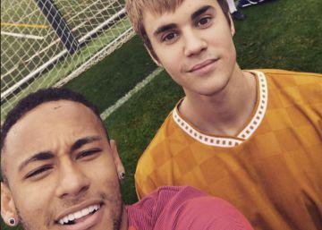Justin Bieber asiste a un entreno del Barça