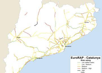 Mapa de les carreteres més perilloses de Catalunya, segons l'EuroRAP