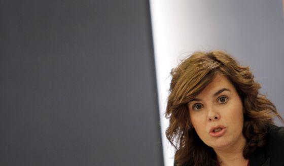 Soraya Saénz de Santamaría, en el Consejo de Ministros.