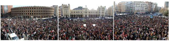 Tres instantáneas de la manifestación de estudiantes en Valencia.