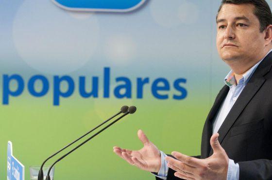 Antonio Sanz, en la sede del PP.