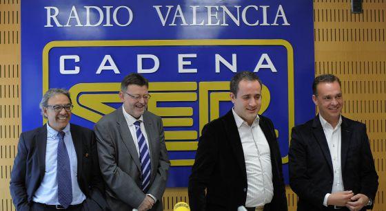 Los candidatos a la secretaría general del PSPV-PSOE, en la Cadena SER en Valencia.