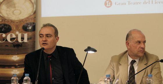 El director artístico del Liceo, Joan Matabosch, a la izquierda, y el director general, Joan Francesc Marco, en la presentación de la temporada.