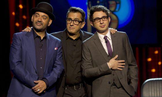 `Andreu Buenafuente (c) vuelve a televisión con 'Buenas noches y Buenafuente', acompañado de José Corbacho (i) y Berto Romero (d)