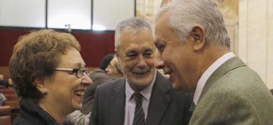 Aguayo, Griñán y Arenas, en diciembre pasado en el Parlamento.