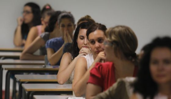 Aspirantes a maestros durante las últimas oposiciones andaluzas.