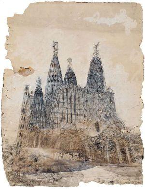 Dibujo con la perspectiva exterior de la iglesia de la colonia Güell, de Antoni Gaudí.