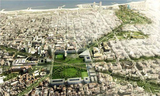 Simulación de la reforma de la plaza de las Glòries del Ayuntamiento de Barcelona