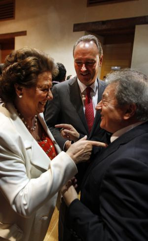 Barberá, Fabra y Rus, en un acto reciente en las Cortes.