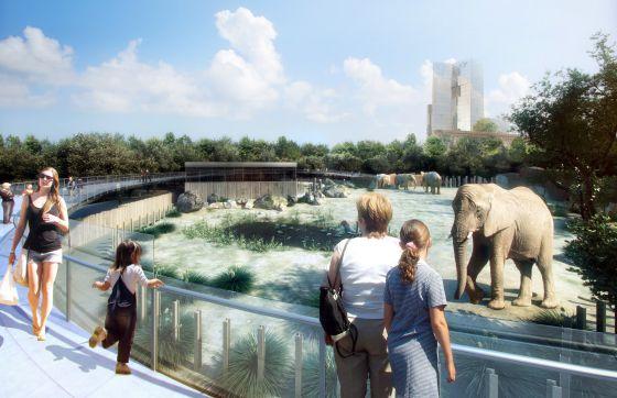 Recreación virtual de la instalación de los elefantes en el Zoo de Barcelona.