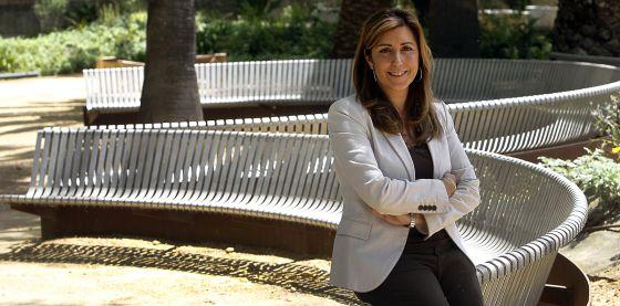 La consejera de la Presidencia e Igualdad, Susana Díaz, en los jardines del palacio de San Telmo, el pasado viernes.