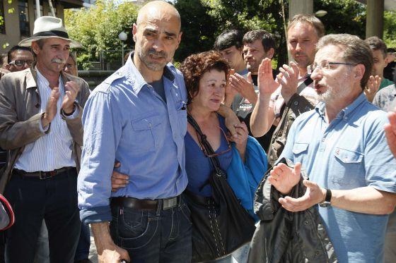 Imagen de los sindicalistas acusados durante la manifestación del naval
