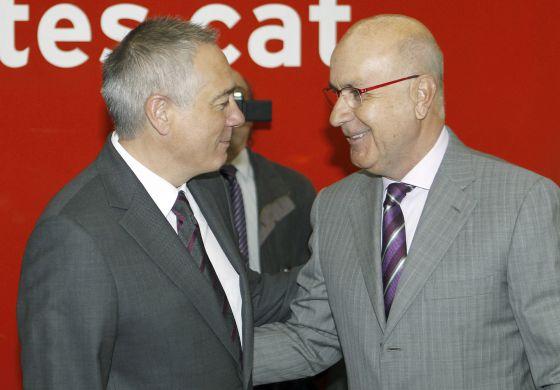 El primer secretario del PSC, Pere Navarro (izquierda), y el líder de Unió, Josep Antoni Duran Lleida, se han reunido hoy.