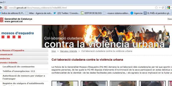 La página web para delatar a vándalos que ha retirado Interior un mes después de su lanzamiento