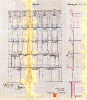 Alzado y sección de la fachada de la casa Antonia Burés de 1903.