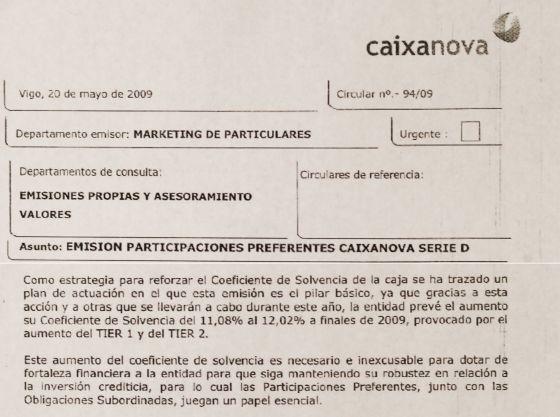 Extracto de circular interna de Caixanova de mayo de 2009.