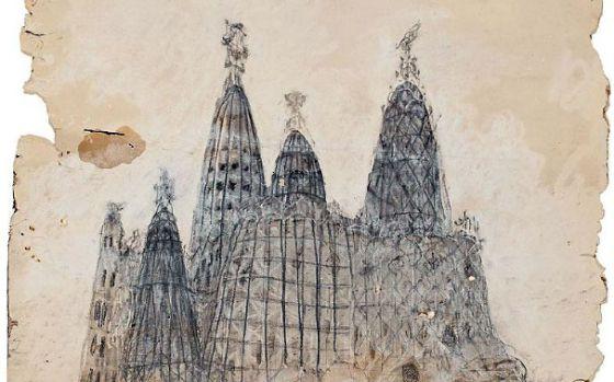 Dibujo con la perspectiva exterior de la iglesia de la Colonia Güell, de Antoni Gaudí