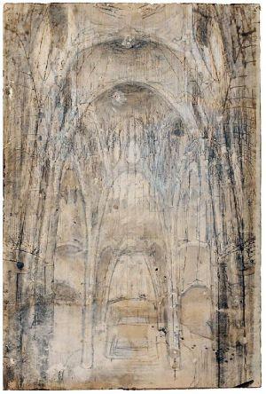 Dibujo del interior de la iglesia de la Colonia Güell que Gaudí quería construir.