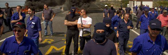 Trabajadores de Navantia, durante la protesta de este miércoles.