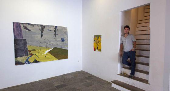 Miki Leal, ayer en la Galería Rafael Ortiz.
