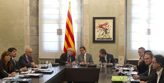Reunión de Artur Mas en el Palau de la Generalitat con los líderes políticos.