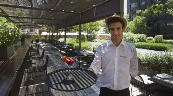 El Jardín Mimosa, la terrassa de l'Hotel Mandarín: el Mediterrani en un pati interior amb tocs orientals.