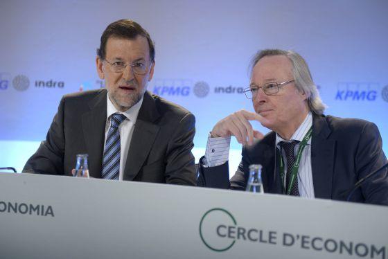 El presidente del Gobierno, Mariano Rajoy, y el del Círculo de Economía, Josep Piqué, en Sitges.