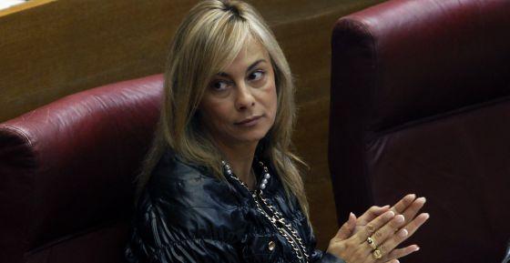 Sonia Castedo, alcaldesa de Alicante, durante un pleno en las Cortes Valencianas.