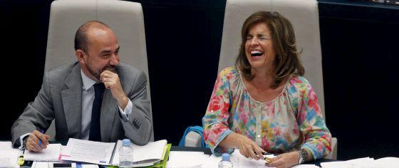 Ana Botella y Miguel Ángel Villanueva, durante el debate sobre el estado de la ciudad.
