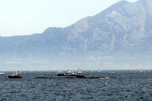 Embarcaciones tratan de limpiar el vertido de fuel en la Bahía de Algeciras.