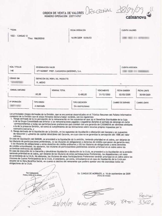 Test de idoneidad de una clienta que denuncia que su firma está falsificada.