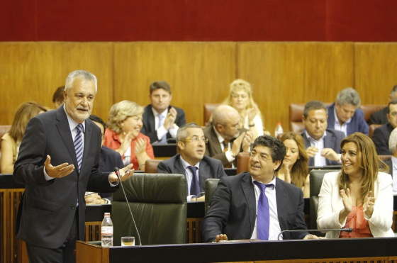 Griñán, Valderas y Díaz, el pasado jueves en el Parlamento.
