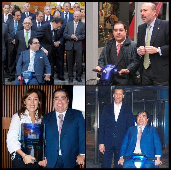 Cuatro imágenes de Gerardo Crespo en diversos actos: con Rajoy, el exalcalde Losada, la conselleira Mato y Feijóo.