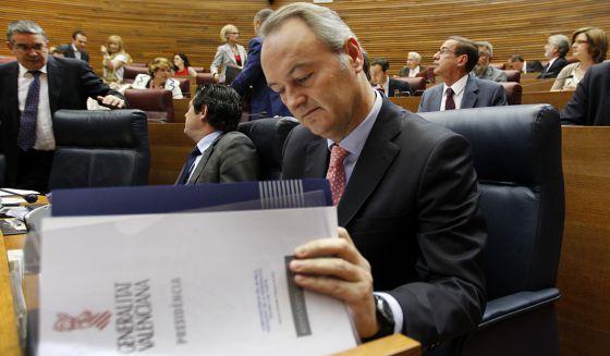 Alberto Fabra, el pasado jueves, en las Cortes Valencianas.